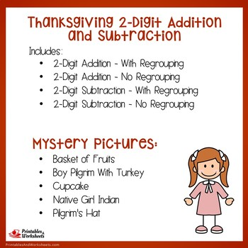 Hidden Pictures Thanksgiving Adding And Subtracting Color By Number Worksheets