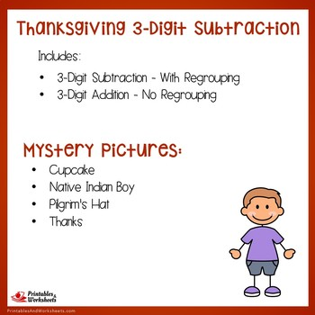 Three Digit Subtraction Thanksgiving Coloring Activity Pages Mystery Pictures