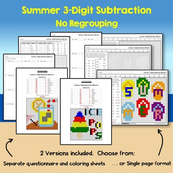 Summer 3 Digit Subtraction No Regrouping