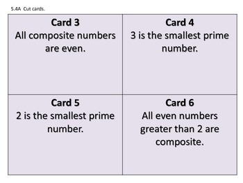 5.4A Prime and Composite Numbers True/False Card Sort