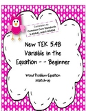 5.4B Algebraic Reasoning:  Variable in the Equation -- Beginner