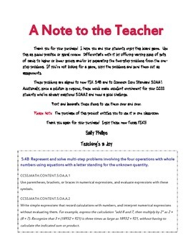5.4B Variables in One and Two-Step Word Problems