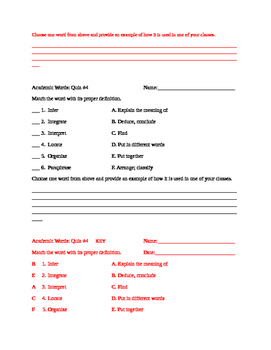 55 Academic Words Assessment