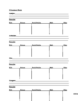 55 Academic Words: Student Note Packet