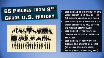 55 American History Figures: handouts & PPT for intro or summarizing activity