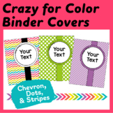 "57 Editable Binder Covers & Spines ""Crazy for Color"" Dots,"