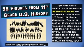 55 Figures from U.S. History: handouts & PPT for intro or summarizing activity