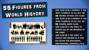 55 Figures from World History: handouts & PPT for intro or summarizing activity