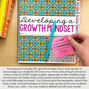 55 Growth Mindset Sticky Note Quotes: Motivate Students