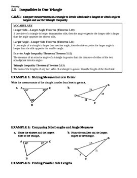 5.5 Inequalities in One Triangle