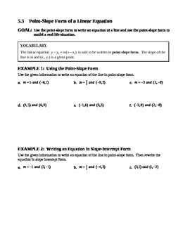 5.5 Point-Slope Form of a Linear Equation
