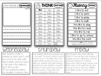 112 Weekly Sight Words Booklets Whole Group, Small Group, Intervention, Homework
