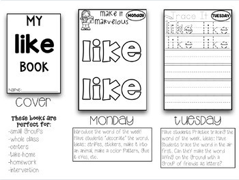 141 Weekly Sight Words Booklets Whole Group Small Group Intervention Homework