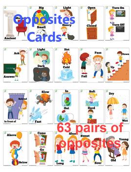 63 X 4 Opposites Flash Cards