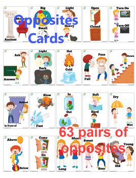 63 X 4 Opposites Flash Cards