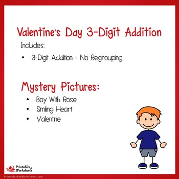 Valentines Day 3 Digit Addition No Regrouping