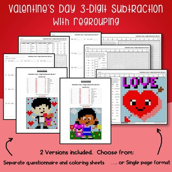 Valentines Day 3 Digit Subtraction With Regrouping