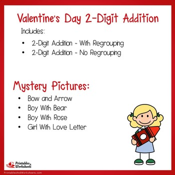 Valentines Day 2 Digit Addition