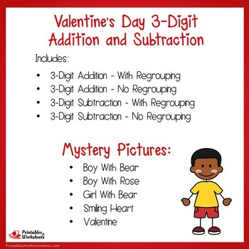 Valentines Day 3 Digit Addition and Subtraction