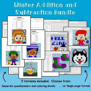 Fun Addition And Subtraction Worksheets Winter Math Coloring Pages
