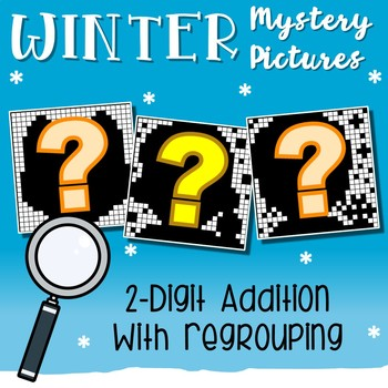 Mystery Picture Pages, Winter Color By Addition Sheets, 2 Digit Regrouping