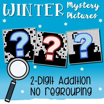 Winter Addition Coloring By Number, 2 Digits With No Regrouping Worksheets