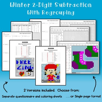 Math Mystery, Winter 2-Digit Subtraction Coloring Worksheets With Regrouping