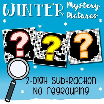 Winter Color By Number Subtraction Worksheets Double Digit Without Regrouping