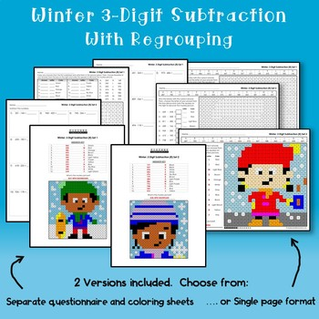 Winter 3-Digit Subtraction Coloring Worksheets With Regrouping