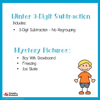 Winter Color By Number 3 Digit Subtraction Coloring Worksheets No Regrouping
