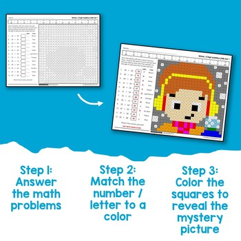 Math Worksheets On Winter 2-Digit Addition Coloring Pages
