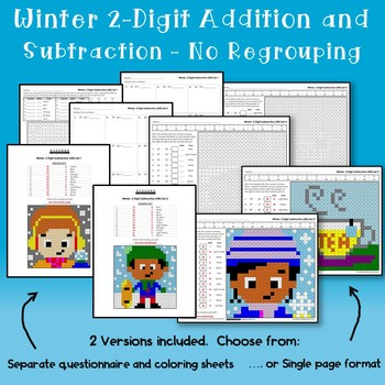 Addition And Subtraction 2 Digit Winter Coloring Math, No Regrouping