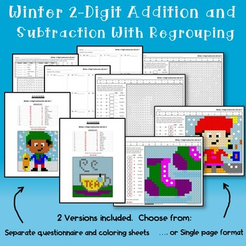 Winter Color By Addition And Subtraction Worksheets 3 Digits With Regrouping