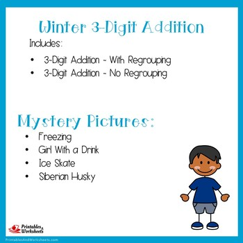 Color By Number 3 Digit Addition Winter Centers Mystery Picture Activity