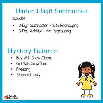 Three Digit Subtraction Winter Coloring Activity Pages Mystery Pictures