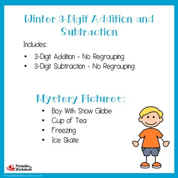 Winter 3 Digit Addition And Subtraction No Regrouping Worksheets