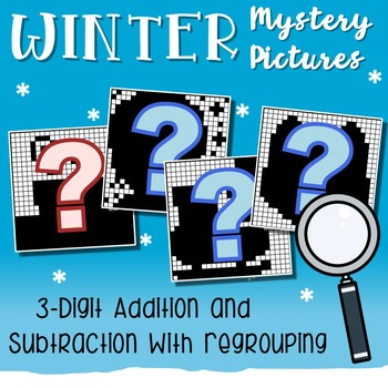 Winter Color By Number Addition And Subtraction 3 Digits With Regrouping
