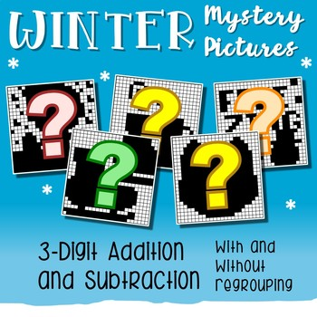 3 Digit Adding And Subtracting, Winter Coloring Math Worksheets