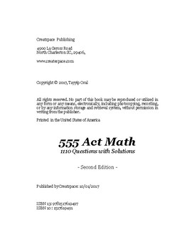 ACT MATH- 1110 QUESTIONS WITH SOLUTIONS.