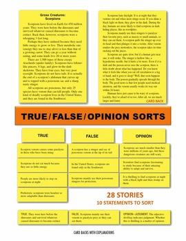 True/False/Opinion Sort Manipulatives