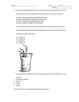 5.5CD Mixtures and Solutions STAAR Weekly Assessment