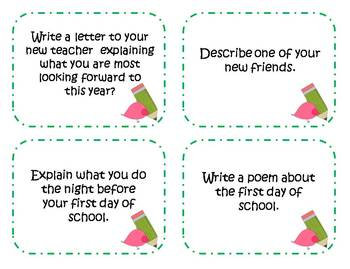 56 Back to School Writing Prompts and Story Starter Task Cards