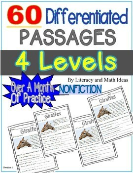 60 Differentiated Nonfiction Passages (4 Levels Per Topic)