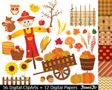 56 Fall Clipart Harvest Clip art Scarecrow Autumn Image le