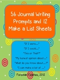 56 Journal Writing Prompt Pages and 12 Make a List Sheets