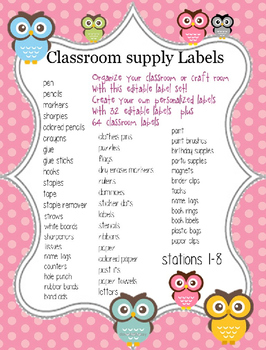 56 classroom labels with cute owl design PLUS round ABC Round header cards