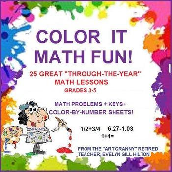25 MATH LESSONS!HOLIDAY,SEASONAL,FOR ENTIRE YR Gr3-5!