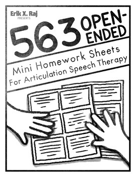 563 Open Ended Mini Homework Sheets for Artic Speech Therapy