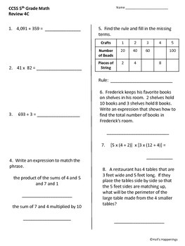 5th Grade Common Core Math Daily Review Weeks 1-5