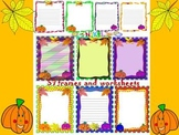 Fall - Frames and Writing paper - Clip Art - Autumn leaves - Pumpkins
